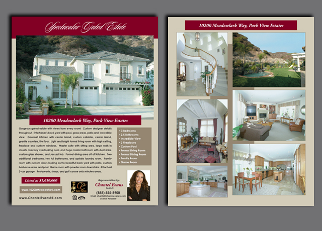 High quality real estate listing flyers printed on thick card stock with UV coating for a great impression.